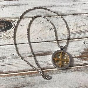 Silver and gold mixed metal circular necklace